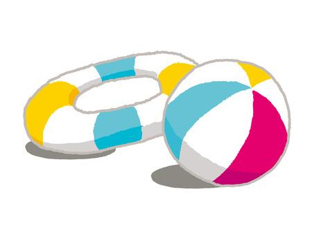 膨脹可能なビーチボールと救命浮環のカラフルなアイコンをベクトルします。  イラスト・ベクター素材