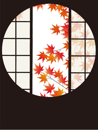 screened: A circular opening frames a famous garden the view into autumn leaves Illustration