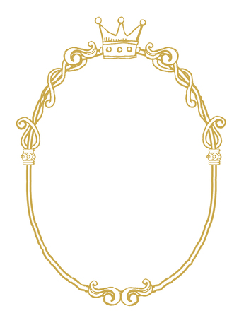 mirror frame: golden frame with ornaments in gold for pictures or mirror Illustration