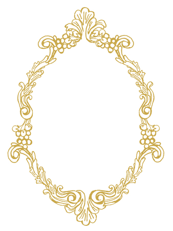 golden frame with ornaments in gold for pictures or mirror 일러스트