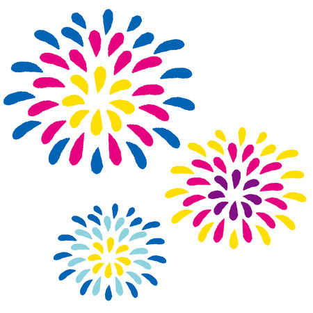 festival moments: Vector illustration of fireworks on white background