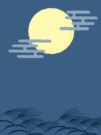 japanese traditional full moon night 일러스트