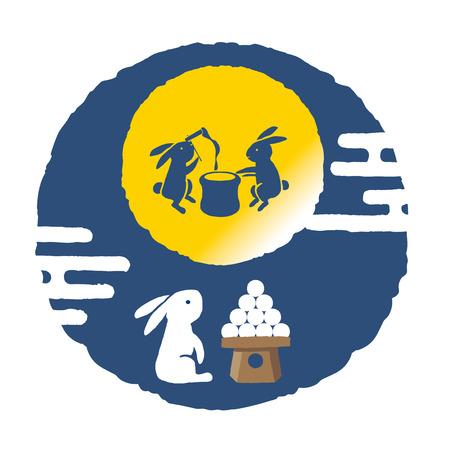 일본 전통 보름달 밤