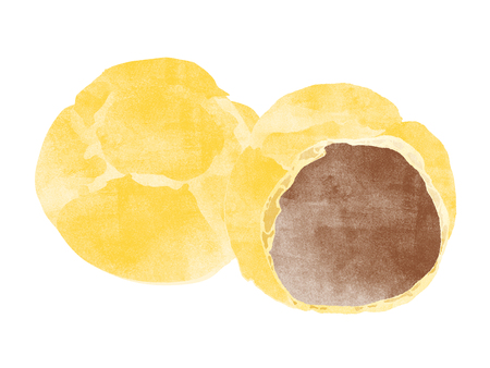 puff pastry: chocolate cream puff illustration Stock Photo