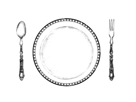 Knife, spoon and plate, isolated on white background. Simple Icon. Vector illustration