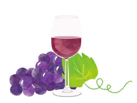 Red wine and grape illustration Stock Photo