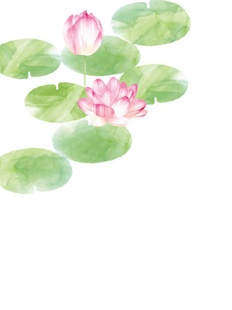 Lotus border. Hand drawn watercolor oriental nature illustration. Artistic lily flowers and leaves Stock Photo