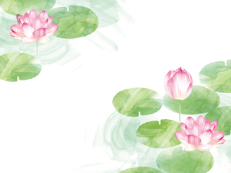 Lotus border. Hand drawn watercolor oriental nature illustration. Artistic lily flowers and leaves 스톡 콘텐츠