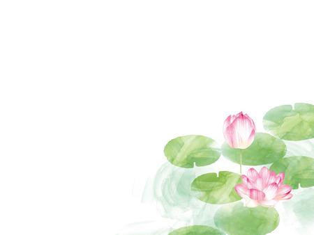 ロータスの境界線。手描き水彩の東洋自然図です。芸術的なユリの花と葉 写真素材
