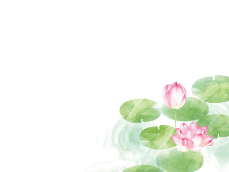Lotus border. Hand drawn watercolor oriental nature illustration. Artistic lily flowers and leaves Archivio Fotografico