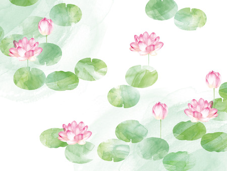 Lotus border. Hand drawn watercolor oriental nature illustration. Artistic lily flowers and leaves 写真素材