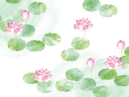 frontière Lotus. Main aquarelle dessinée nature orientale illustration. fleurs et les feuilles de nénuphar artistiques Banque d'images