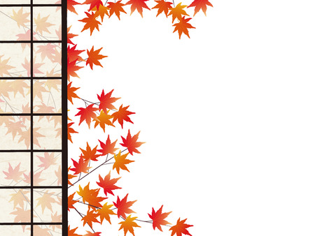 View of autumn leaves seen through open rice paper doors