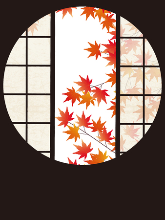 screened: A circular opening frames a famous garden the view into autumn leaves Stock Photo