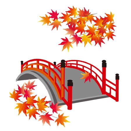 japanese red bridge with maple leaves
