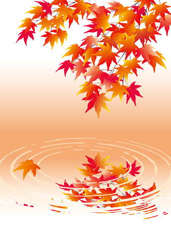 Maple leaves on the background of water waves