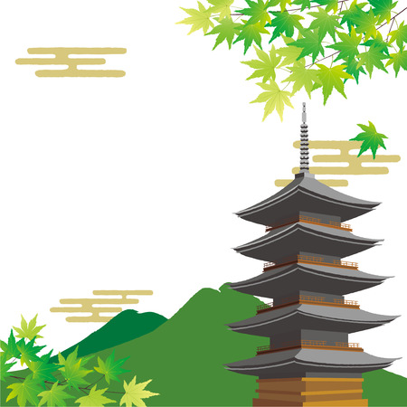 Illustration of green maple and japanese temple