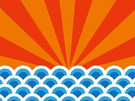 Sea waves, japanese style illustration