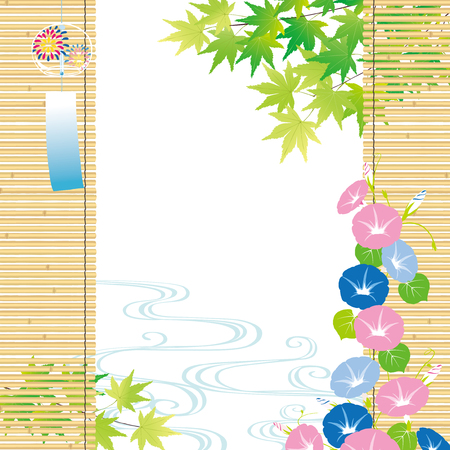 Green maple and morning glory Summer Background 일러스트