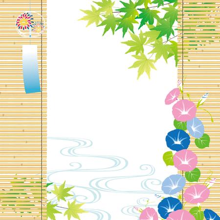녹색 단풍과 나팔꽃 여름 배경