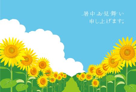 ベクトル イラスト: 壁紙と背景ひまわりの庭と空を景色します。「夏挨拶を」