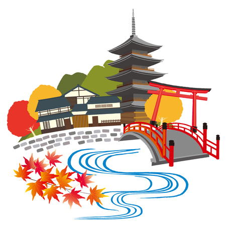 Illustration of Kyoto, Japan Illustration