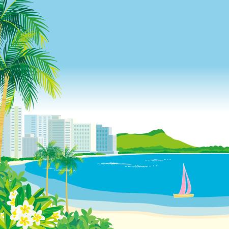 ハワイのワイキキ ビーチ  イラスト・ベクター素材