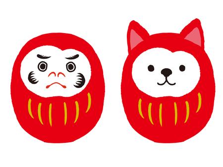 달마와 개 daruma 세트. 일본 전통 인형입니다. 벡터 일러스트 레이 션 일러스트