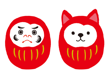 Daruma en hond-daruma-set. Japanse traditionele pop. vectorillustratie