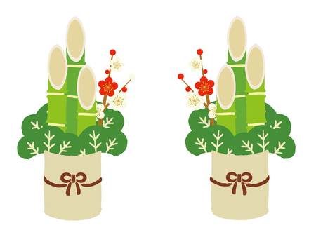 New Year's decorative pine branches on white background. 일러스트