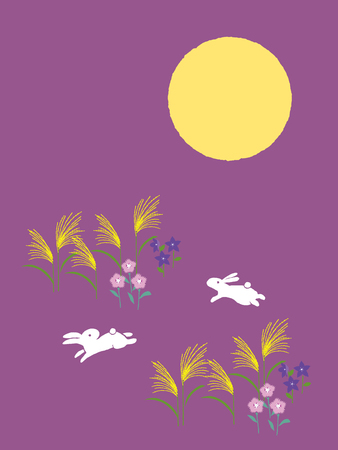 Rabbits viewing the moon. Mid-autumn festival illustration of bunny with full moon on starry night background. Cartoon character.