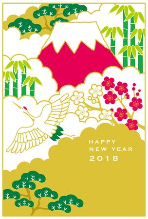 일본 붉은 선정 크레인 산에 비행. 일본 신년 카드입니다.