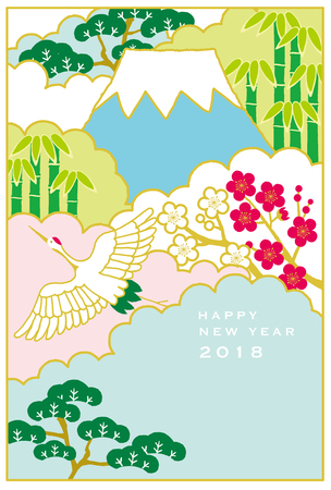 Japanese red-crowned crane flying in a mountain. Japanese New Year's card.