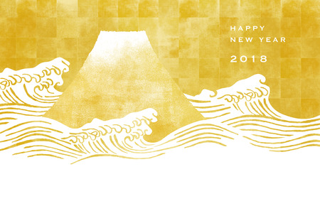 Mt.Fuji and gold folding screen. Japanese New Year's card.