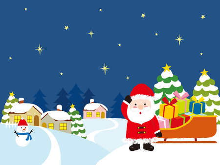 Santa Claus with Christmas gifts and winter house. vector illustration.
