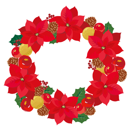 Christmas wreath with pine cones and poinsettia and apple and ornament isolated on white background.