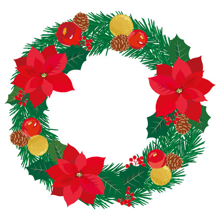 Christmas wreath with pine cones and poinsettia and apple and ornament isolated on white background. Vector illustration Illustration