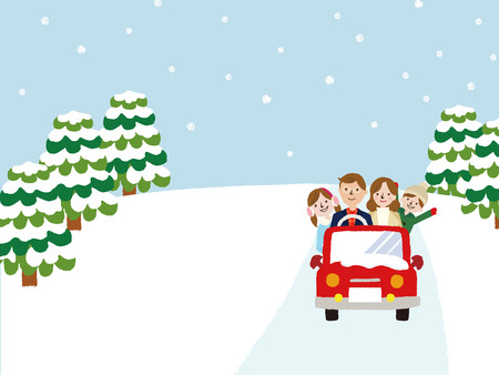 public housing: Winter Family on Car Driving to Travel, Vacations, Holiday, Journey Trips, Transportation