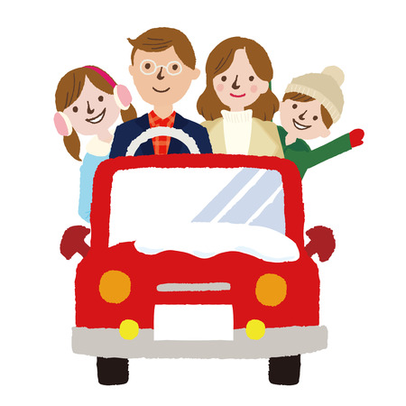 Winter Family on Car Driving to Travel, Vacations, Holiday, Journey Trips, Transportation