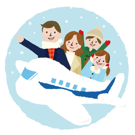 Winter Family vacation trip on an airplane Illustration