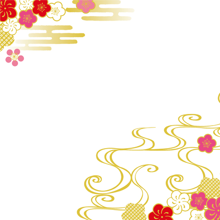 Plum Sea waves New Year's card background