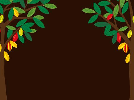 Baum und Obst Kakao auf eine einfache Präsentation.