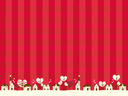 Valentine landscape and a lot of hearts vector illustration on the red Tartan Vintage background.