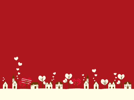 Valentine landscape and a lot of hearts vector illustration.