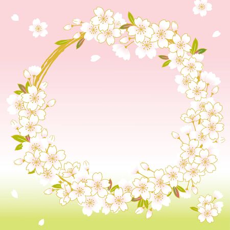 Pink Cherry blossom wreath, sakura flowers beautifully designed into a round style Vector illustration