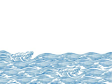 바다 파도 일본식 일러스트레이션 일러스트