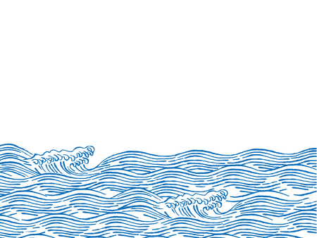 Sea waves japanese style illustration