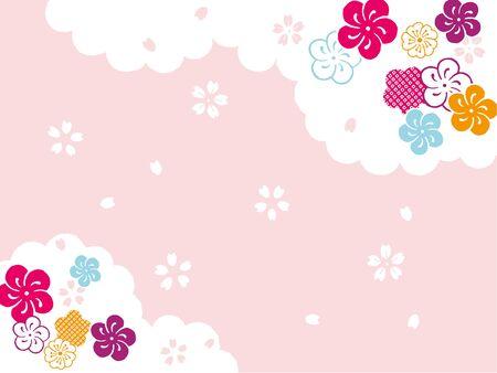 Plum cloud New Year's card background 일러스트