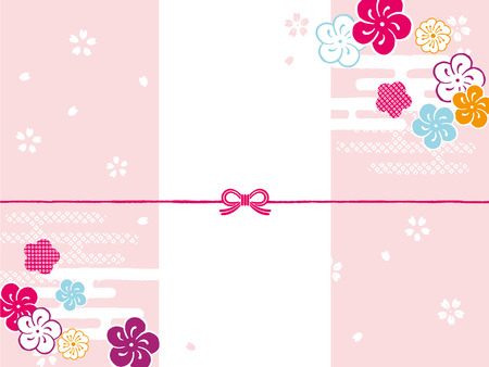 Plum paper: japanese envelope decoration Ilustrace