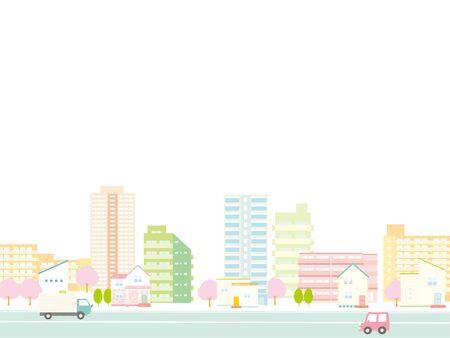 Cherry Spring House background  イラスト・ベクター素材